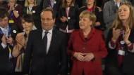 Aus Anlass des Jahrestags des Elysée-Vertrags diskutierten die beiden am Montag mit deutschen und französischen Studenten.