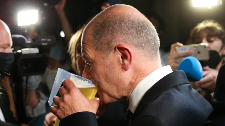 Olaf Scholz auf der SPD-Wahlparty.