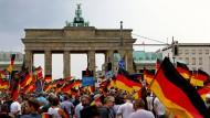 Gegen Merkel: Teilnehmer der AfD-Demonstration vor dem Brandenburger Tor.