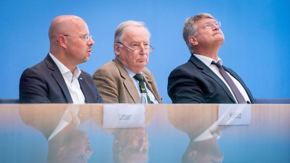 Kalbitz, Gauland und Meuthen in der Bundespressekonferenz im Herbst 2019