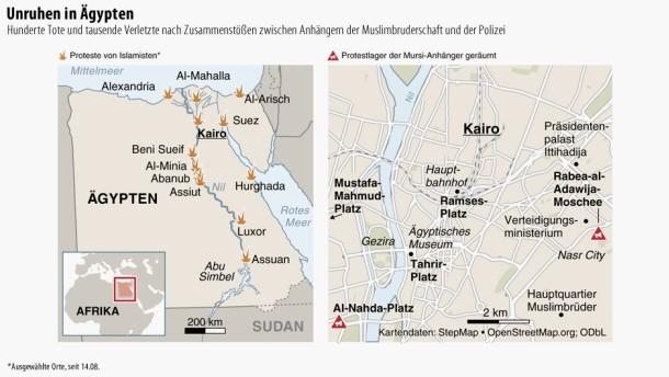 Karte / Unruhen in Ägypten