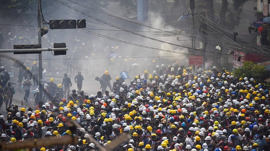 Protestdemonstration am Dienstag in Yangun