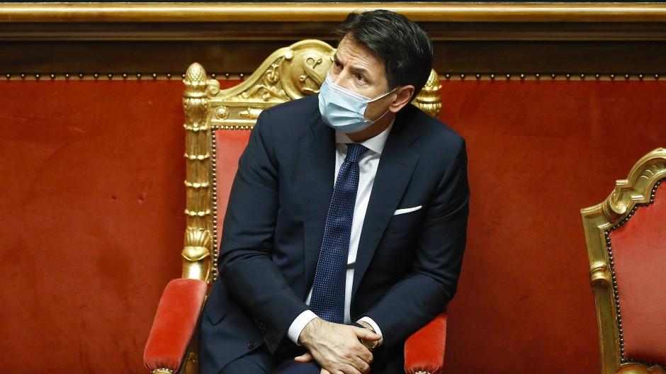Der italienische Ministerpräsident Giuseppe Conte am 19. Januar vor der Vertrauensfrage im Senat