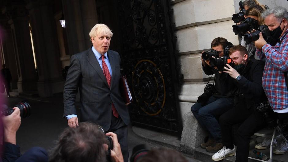 Premierminister Boris Johnson nach einem Treffen am 22. September in der Londoner Downing Street.