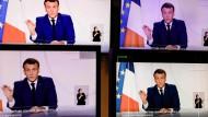 Der französische Präsident Emmanuel Macron bei einer Ansprache im Fernsehen am 24. November