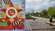 Sowjetische Memorabilien: Poster in Transnistrien im Jahr 2014