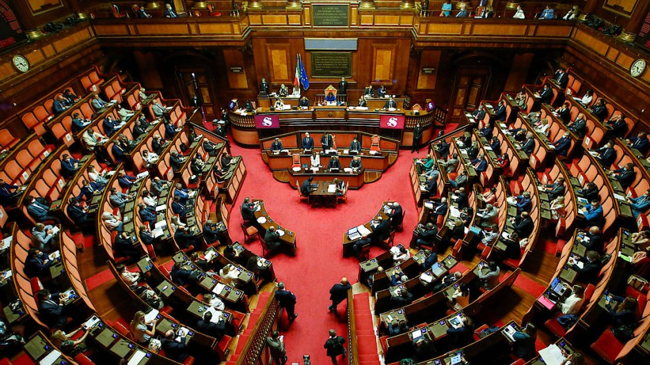 Plenarsaal des italienischen Senats in Rom
