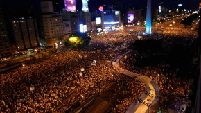 Thousands of protesters demonstrate on 9 de Julio avenue next to the Obelisk of Buenos Aires