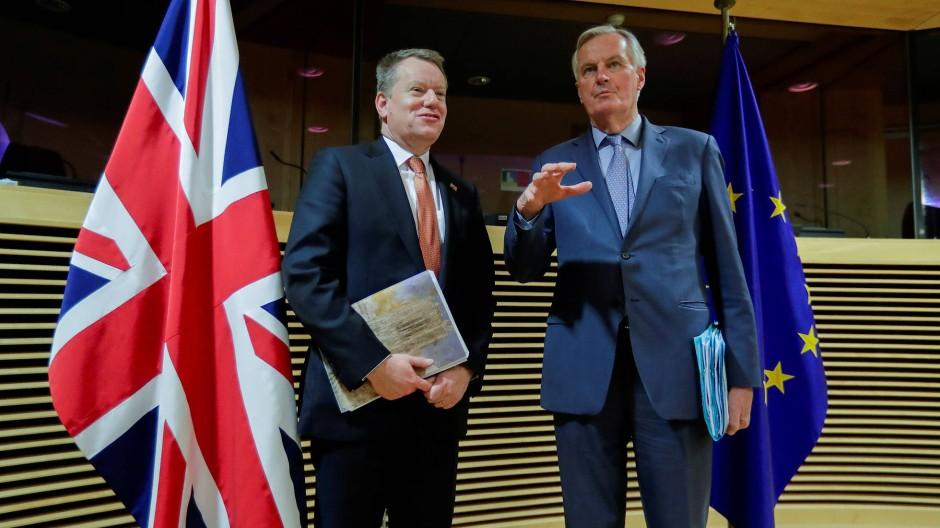 EU-Chefunterhändler Michel Barnier (r.) und David Frost, der Europa-Berater des britischen Premierministers, im März in Brüssel