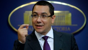 File picture shows Romania's Prime Minister Victor Ponta gesturing during a news conference at Victoria palace in Bucharest