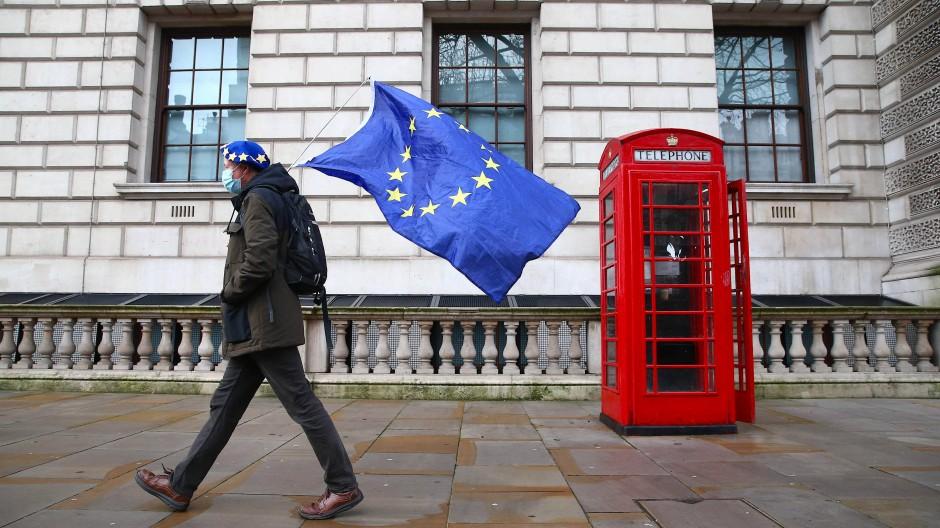 Ein Mann mit EU-Flagge und -Barett im Dezember 2020 in London