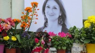 Wer waren die Hintermänner?: Denkmal für die getötete maltesische Journalistin Daphne Caruana Galizia