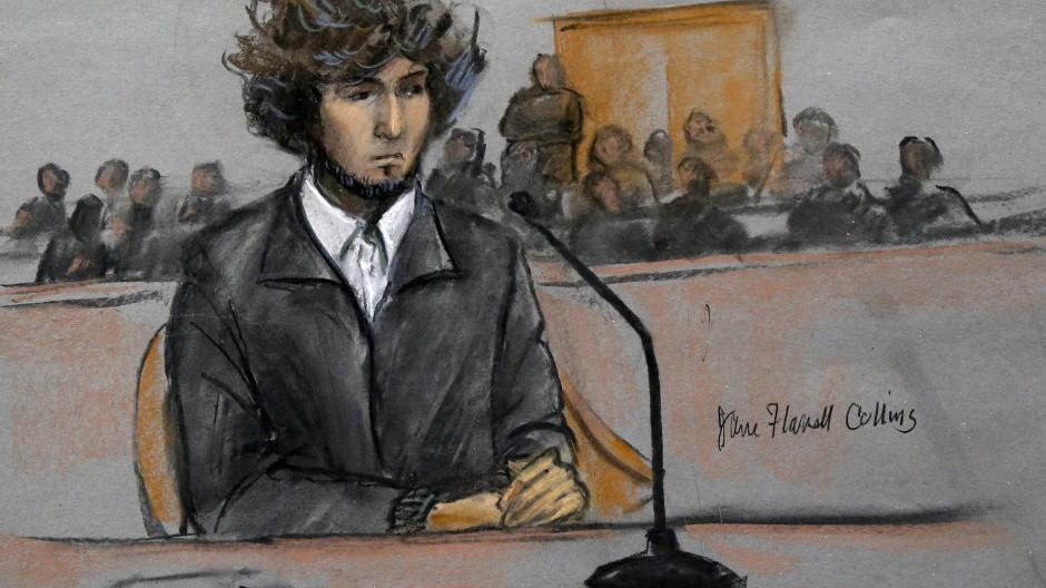 Dzhokhar Tsarnaev im Gerichtssaal, gezeichnet im Dezember 2014.