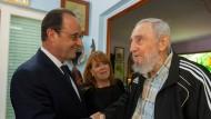 Hollande trifft die Castro-Brüder