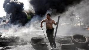 Schwarzer Rauch über dem Maidan