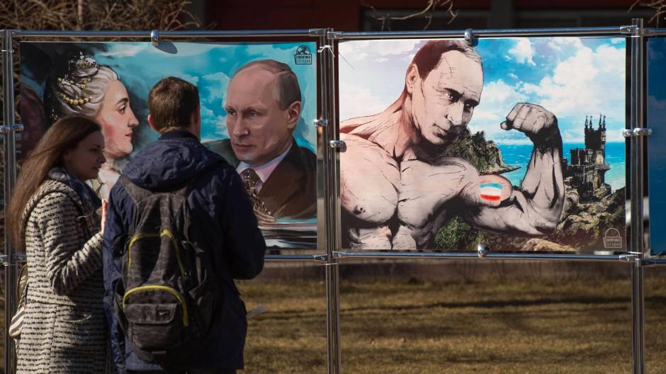 In Russland wird Präsident Putin als Kraftprotz gesehen. In Deutschland herrscht ein anderes Meinungsbild vor.