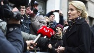 Appelle an den Zusammenhalt: die dänische Ministerpräsidentin Helle Thorning-Schmidt am Sonntag am Tatort