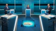 Die Kanzlerkandidaten beim ersten Triell Ende August bei RTL und ntv