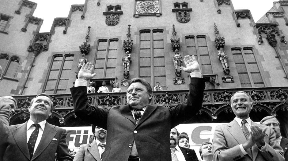 Franz Josef Strauß bei einer Wahlkampfkundgebung in Frankfurt am Main am 22. August 1980