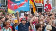 Bereits bei Wahlkampfauftritten der Kanzlerin hatte es in Sachsen massive Proteste gegen Merkel gegeben.