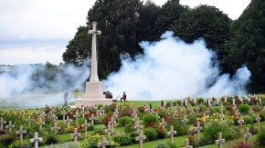 Soldiers stand guard by the Croix du Sacrifice, Cross of the Sacrifice, during a ceremony at the Franco-British National Memorial in Thiepval near Albert
