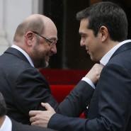 Sprechende Gesten: Martin Schulz (links) und Alexis Tsipras am Donnerstag in Athen