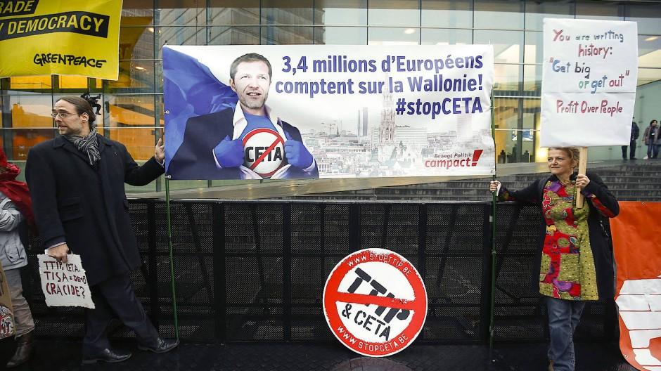 Ceta-Proteste der Wallonen in Luxemburg