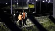 Sprung auf den fahrenden Zug