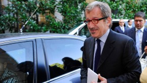 Maroni, newly elected party leader of Northern League, leaves the Ambrosetti workshop in Cernobbio