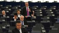 EVP-Politiker Axel Voss (stehend) im Europaparlament in Straßburg