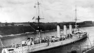 Der Panzerkreuzer SMS Emden der Kaiserlichen Kriegsmarine erzielte als Kaperschiff im Fernen Osten unterwegs. Er strandete am 09.11.1914.