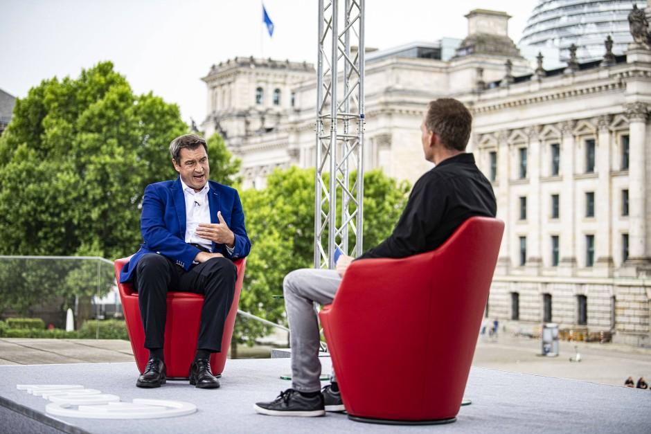 """Der CSU-Vorsitzende und bayerische Ministerpräsident Markus Söder während des """"Sommerinterviews"""""""