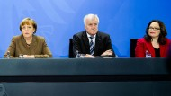 Kritik aus der Union an den Parteivorsitzenden: Merkel, Seehofer und Nahles im Jahr 2016