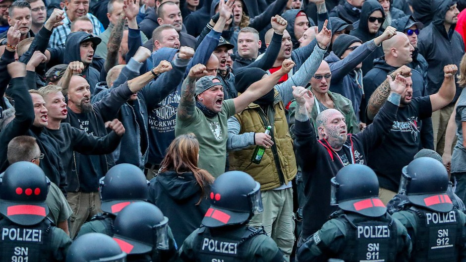 Rechtsextreme demonstrieren im August 2018 in Chemnitz.