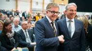 Der CDU-Landesvorsitzende Thomas Strobl (rechts) und der Parlamentspräsident Guido Wolf in Sinsheim