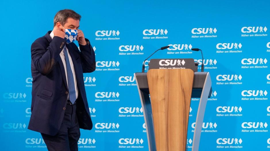 Markus Söder (CSU), Ministerpräsident von Bayern und CSU-Parteivorsitzender, Mitte Mai 2020 bei einer CSU-Vorstandssitzung in München