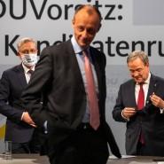 Norbert Röttgen, Friedrich Merz und Armin Laschet (v.l.n.r.) beim Auftakt des Kandidatenverfahrens Mitte Dezember 2020 im Konrad-Adenauer-Haus