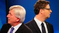 Der noch hessische Ministerpräsident Volker Bouffier und SPD-Spitzenkandidat Thorsten Schäfer-Gümbel hier nach der letzten Landtagswahl im ARD-Wahlstudio.