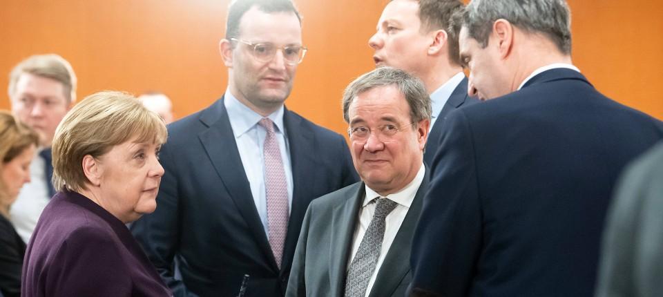 Merkel, Spahn, Laschet und Söder im März in Berlin