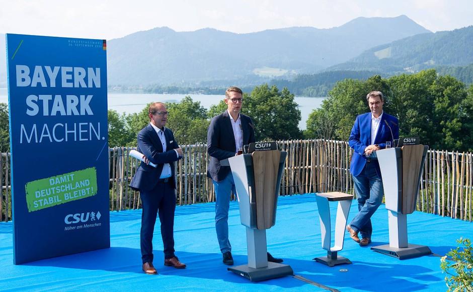 Wollen Bayern noch stärker machen: CSU-Landesgruppenchef Alexander Dobrindt (von links nach rechts), Generalsekretär Markus Blume und Parteichef Markus Söder am Freitag in Gmund