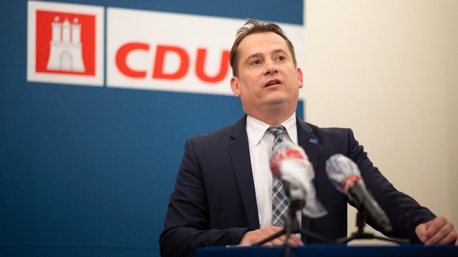 Der Hamburger CDU-Landesvorsitzende Roland Heintze während einer Pressekonferenz im Juli in Hamburg.