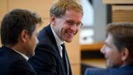 Drei Mann für ein Bündnis: Habeck, Günther und Garg am Mittwoch im Kieler Landtag.