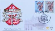 Der Vatikan ist ohne Papst, sichtbar auch auf den Postsendungen des Stadtstaates. Bis zur Wahl von Benedikts Nachfolger tragen Postsendungen Schriftzug und Wappen der Sedisvakanz
