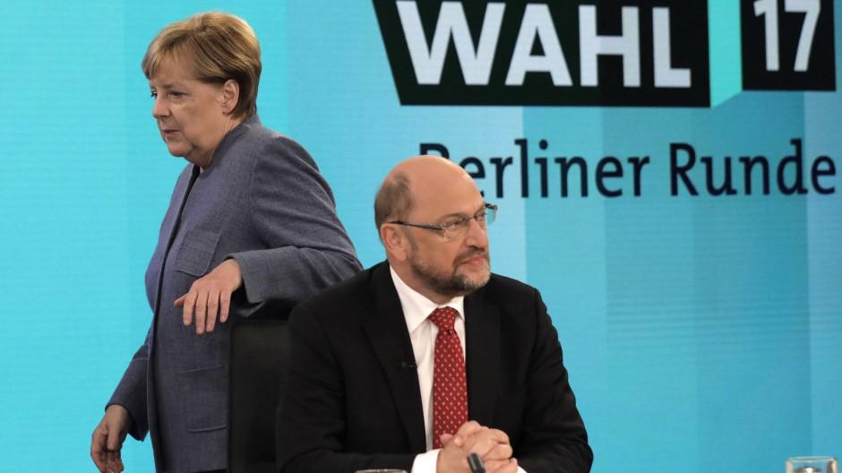 Angela Merkel und Martin Schulz am 24. September 2017 in Berlin.