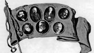 Revolutionspostkarte 1918/19: Friedrich Ebert, Otto Landsberg, Philipp Scheidemann, Karl Kautsky, Hermann Molkenbuhr und Albert Südekum