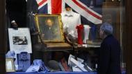 Schaufenster in London, anlässlich des 50. Jahrestages der Beerdigung von Winston Churchill, am 30. Januar 2015
