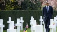 Barak Obama am 26.03.2014 auf einem Soldatenfriedhof in Waregem