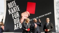 Anke Rehlinger, Martin Schulz und Heiko Maas am 24. März 2017 in Saarbrücken