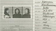 Polizeiliches Registrierung Zillis Reichmanns nach ihrer Verhaftung in Straßburg am 8. Juni 1942
