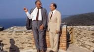 François Mitterrand und Helmut Kohl im August 1985 in Brégançon